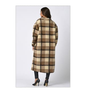 Winter Coat Noemie - Taupe and White