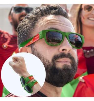 Lunettes de Soleil Pliables World Cup Portugal - Vert et Rouge