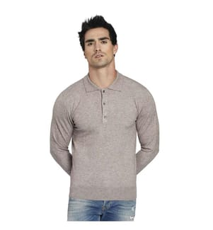 Buttoned Polo Neck Sweater, Beige