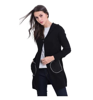 Long Hooded Cardigan With Suede Pockets, Black