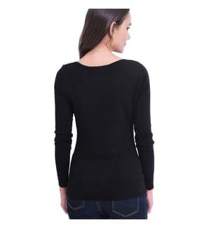 Diamond Round Neck Sweater, Black