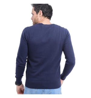 V-Neck Cardigan With Buttons On Long Sleeve - Dark Blue