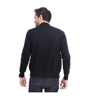 Long Sleeve Zipped High Neck Cardigan - Black