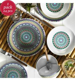 24-Piece Dish Set  - Multicolor