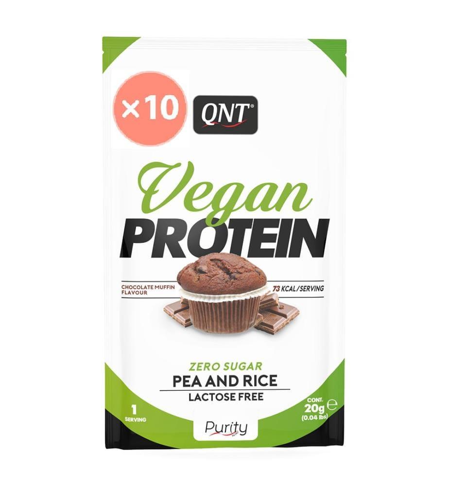 QNT Protéines en Poudre Vegan Sans Sucre Muffin au Chocolat - 10 x 20g
