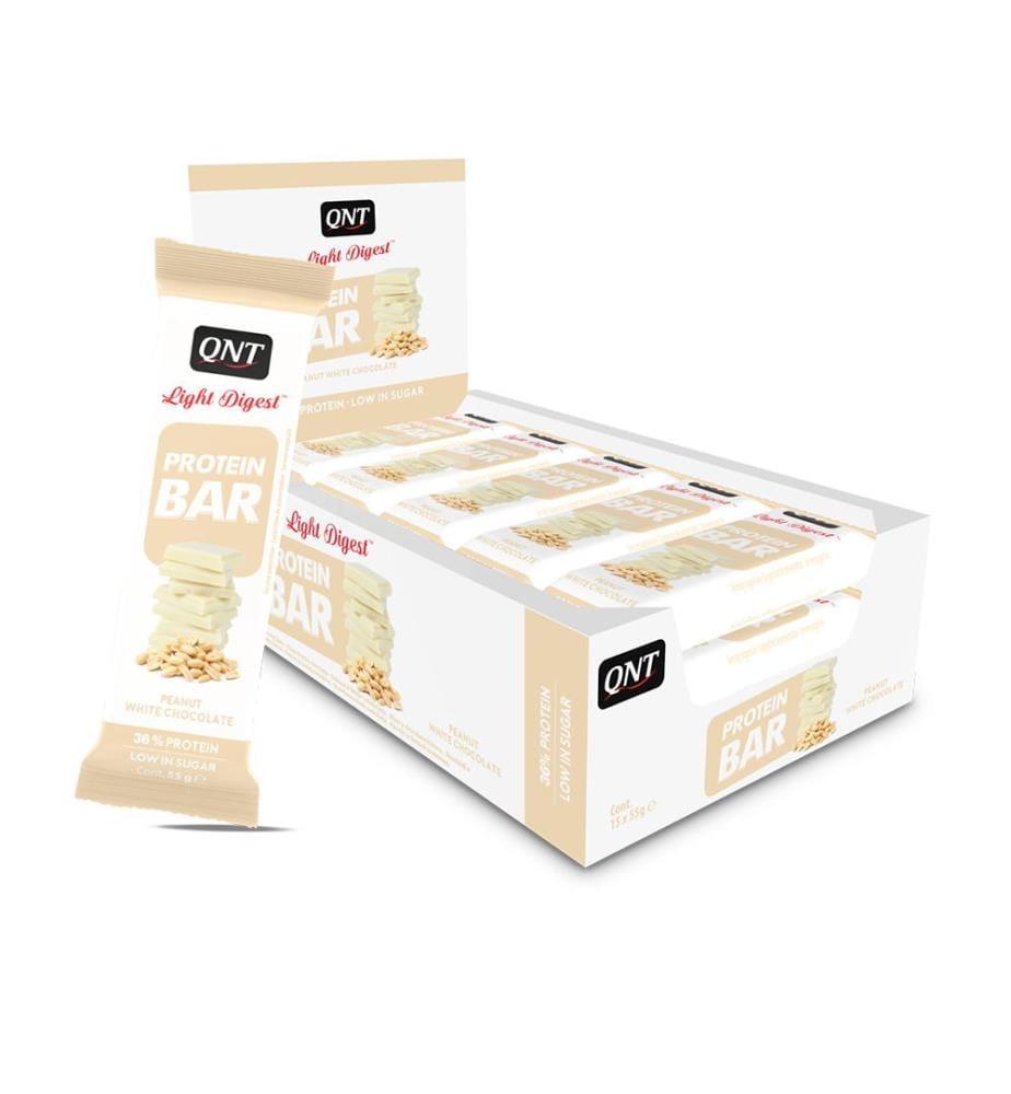 QNT Barres Protéinées Cacahuète Chocolat Blanc, Light Digest - 15 x 55g